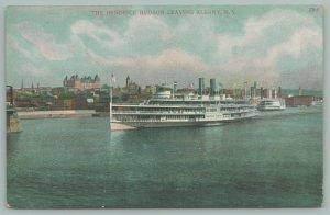 Albany New York~Arnold Co Sign on Shore~Steamer Hendrick Hudson Leaves Town~1909
