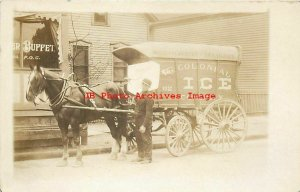 Unknown Location, RPPC, Colonial Ice Horse Drawn Advertising Wagon