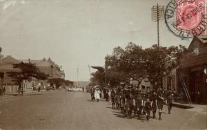 south africa, DURBAN, Street Procession with Boy Scouts (1913) RPPC Postcard