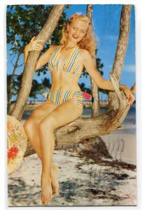 Bathing Beauty Woman Bikini Swimsuit Beach 1957 postcard