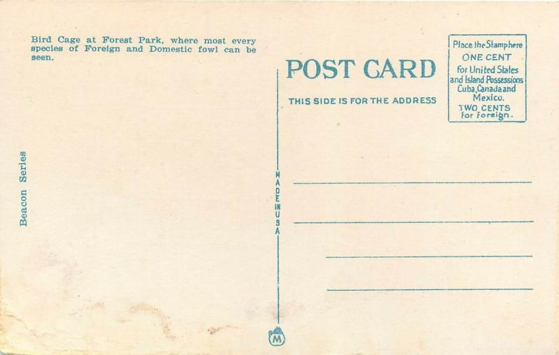 Forest Park Bird Cage St Louis Missouri MO Postcard