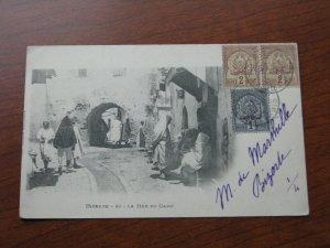 Tunisia UDB Postcard 1901  Postmark Bazzar 20 La Rue Du Camp Street Scene