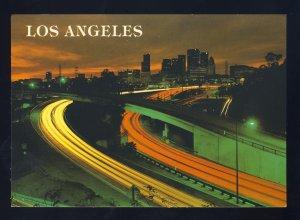 Los Angeles, California/CA Postcard, LA Freeways At Night, Near Mint!