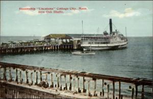 Oak Bluffs Martha's Vineyard MA Steamer Ship Uncatena c1910 Postcard