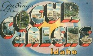 Coeur d Alene Idaho Large Letters multi Tichnor linen 1940s Postcard 21-9563