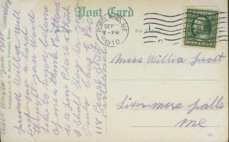 Henry W Longfellow Monument Portland ME Maine Memorial c1910 Postcard E2