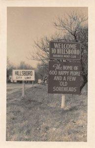 F54/ Hillsboro Indiana RPPC Postcard c1950s Welcome Road Sign