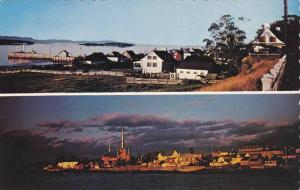 2 Views, Church and Village From Wharf, Kamouraska, Quebec, Canada, 40-60´s