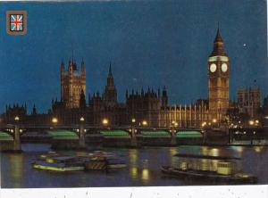 England London Big Ben Houses Of Parliament & River Thames At Night
