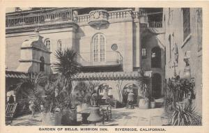 Riverside California~Mission Inn-Garden of Bells~Potted Palms-Bells~Albertype Pc