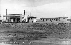 Vaughn NM Lee's Drive-In & Motel Gas Station RPPC Postcard