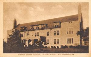 Elizabethtown Pennsylvania~Dauphin County Masonic Homes~1920s Sepia Postcard