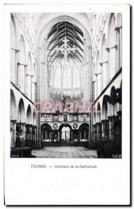 Old Postcard Tournai Interior of the Cathedral