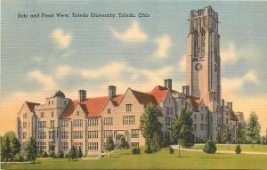 Toledo Ohio~Toledo University~Side & Front View~Clock Tower~1940s Postcard