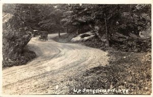 RPPC Up Smugglers Notch Vermont Old Cars Dirt Road c1920s Vintage Photo Postcard