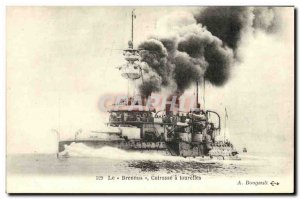 Old Postcard Boat War Brennus The Breastplate has turrets