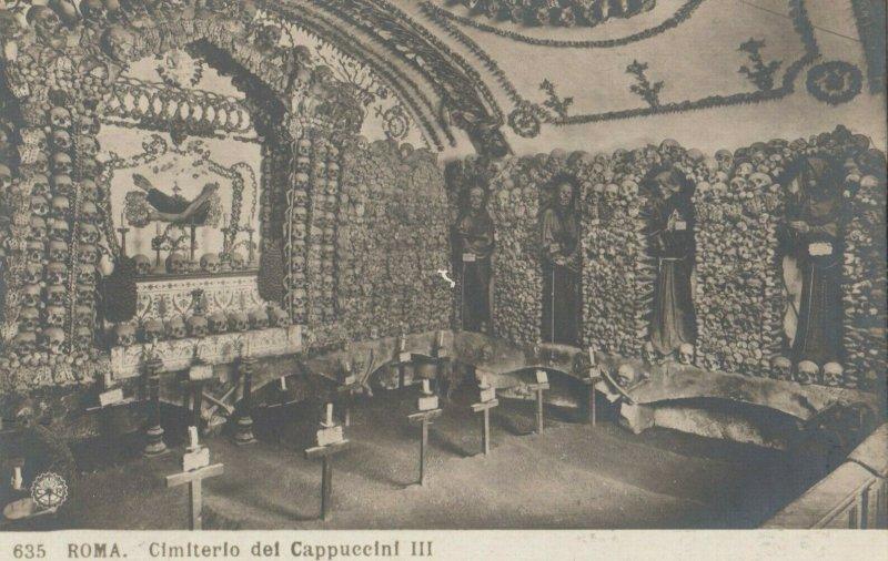 RP, ROMA , Italy , 1900-10s ; Cimiterio del Cappuccini III , Room of Skulls