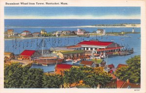 Steamboat Wharf from Tower, Nantucket, MA, early linen postcard, unused
