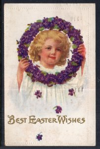 Best Easter Wishes,Girl Holding Wreath