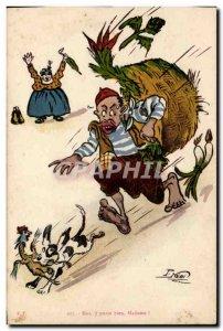 Old Postcard Fantasy Illustrator Me Madam ji door