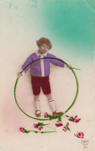 RP: Girl w/ Hoop Toy & Red Roses, 1910-20s