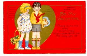 Two Children, Red Background, Be My Valentine Poem, Used 1931