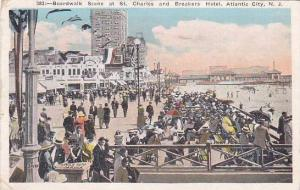 New Jersey Atlantic City Boardwalk Scene At Saint Charles and Breakers Hotel ...
