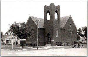 Hebron, Nebraska RPPC Real Photo Postcard First Methodist Church Street View