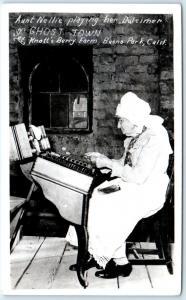 RPPC  BUENA PARK, CA   Knott's Berry Farm AUNT NELLIE & DULCIMER Postcard