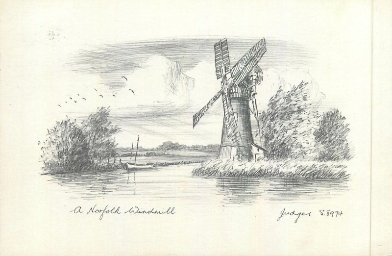 Postcard England Norfolk windmill drawing