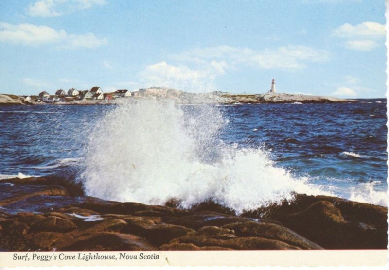 Surf Peggy's Cove Lighthouse NS Nova Scotia Sea Waves Rocks Vintage Postcard D9