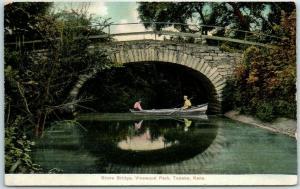 Topeka, KS Postcard Stone Bridge, VINEWOOD PARK Amusement Park 1910s Unused