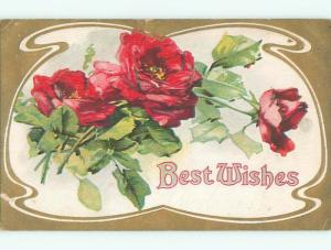 Pre-Linen BEAUTIFUL RED ROSE FLOWERS FOR BEST WISHES k4741