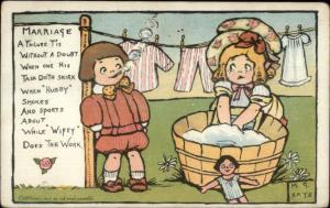 Girl Doing Laundry - Boy Smoking Cigarette MG Hays MARRIAGE Postcard