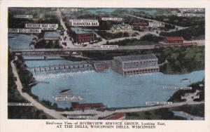 WISCONSIN DELLS, Wisconsin, 1930-1940's; Aerial View of Riverview Service Group