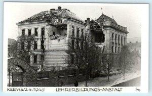 RPPC  KREMS, AUSTRIA  Damaged 1945 LEHRERBILDUNGS-ANSTALT Real Photo Postcard