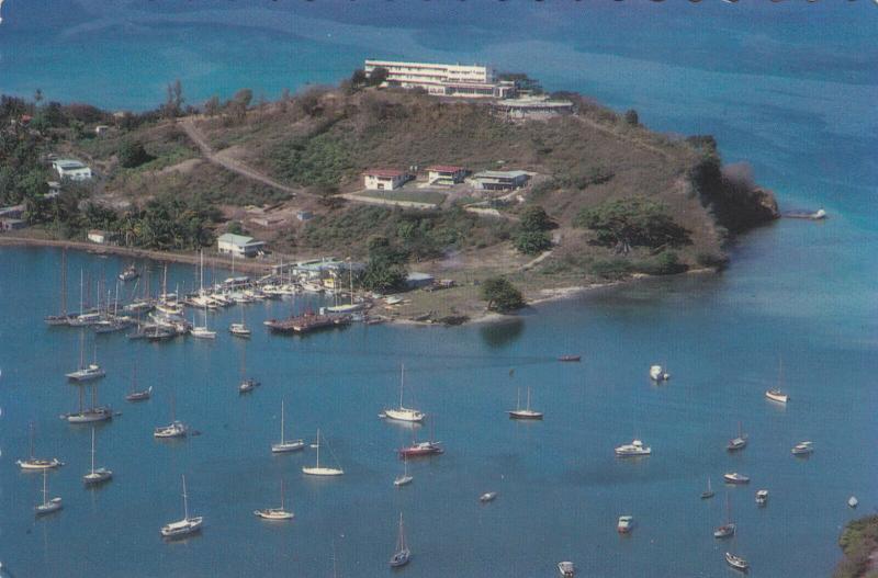 GRENADA , West Indies, 50-70s ; Aerial View of docked Yachts