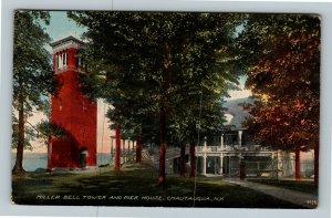Chautauqua NY, Miller Bell Tower, Pier House, New York Vintage Postcard