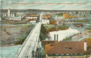 Spokane WA Bird's Eye View Postcard Lower Falls, Monroe St Bridge, Court House