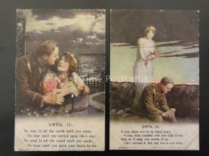 WW1 UNTIL Bamforth Song Cards set of 2 No 4892 /1/2