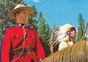 Canada Royal Canadian Mounted Pollice Officer and North American Indian in Tr...