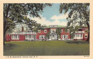 John City New York~I. B. M. Homestead~Lots of Chairs on Patio~1948 Postcard