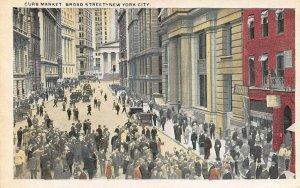 Curb Market, Broad Street, Manhattan, New York City, Early Postcard, Unused
