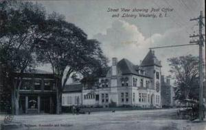 Westerly RI Street View Post Office Horses Postcard