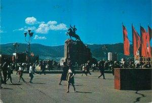 Mongolia monument to D. Sukhe-Bator Ulan Bator postcard