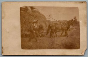 Postcard RPPC c1910s Farmers Horse Pulling Wagon Of Hay Straw