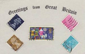 Greetings from Great Britian , Real Stamps on Postcard , 1950s : #1