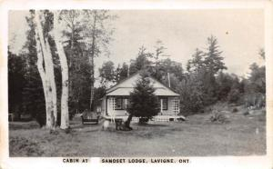Canada Postcard Real Photo RPPC Ontario c40s LAVIGNE Samoset Lodge Cabin 52