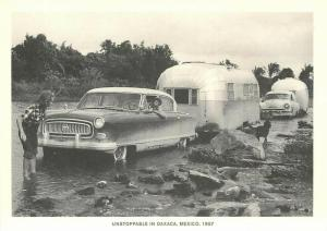 Airstream Trailer at Oaxaca Mexico Crossing River in 1957 Repro Postcard