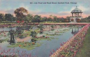 Illinois Chicago Lily Pond & Band Stand In Garfield Park Curteich